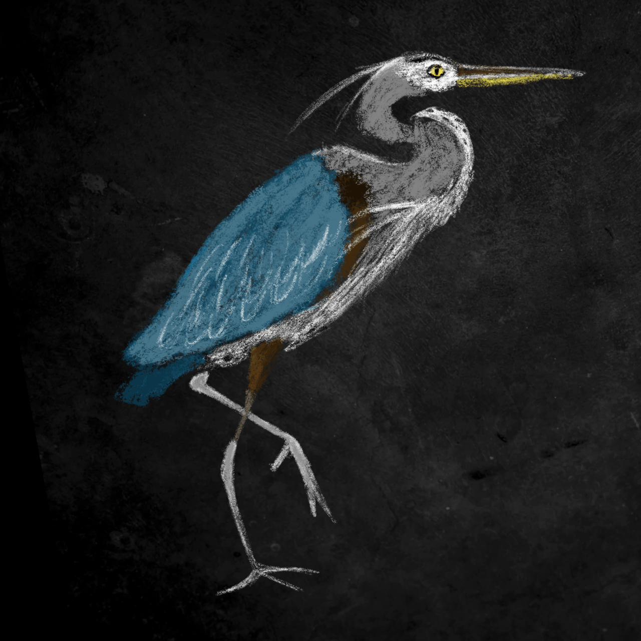 Heron drawn by Ceindy Doodles
