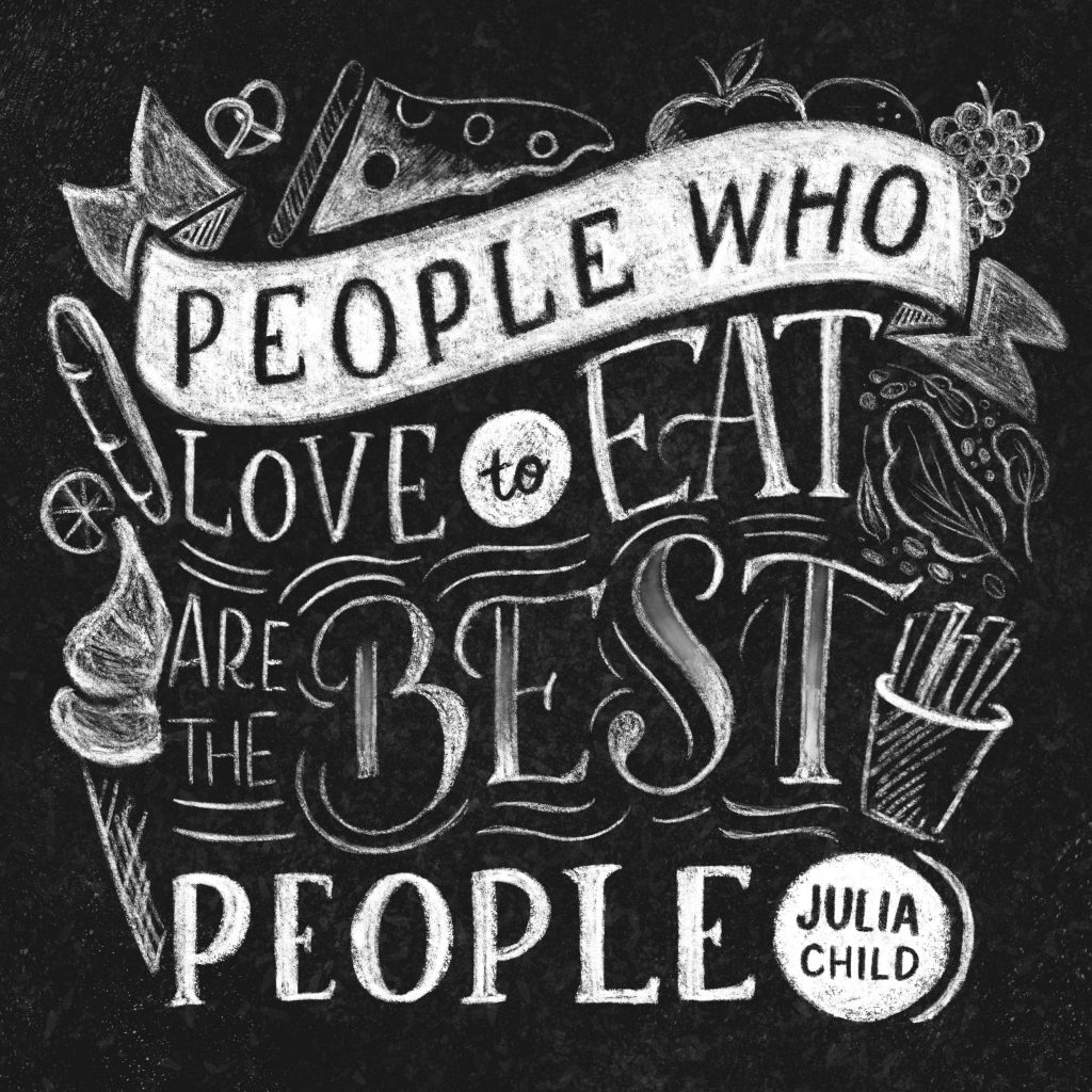 Ceindy Doodles Julia Child Quote Black and White
